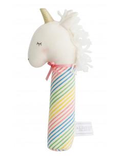 hochet-licorne-yvette-corne-argent-tissu-rayures-multicolores-alimrose