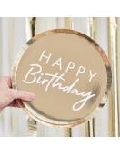 8 Assiettes Rondes Dorées Happy Birthday