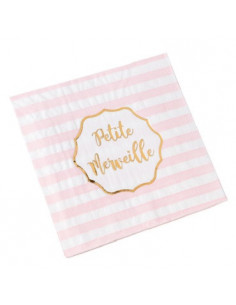 16 Serviettes Roses & Or Petite Merveille Fille