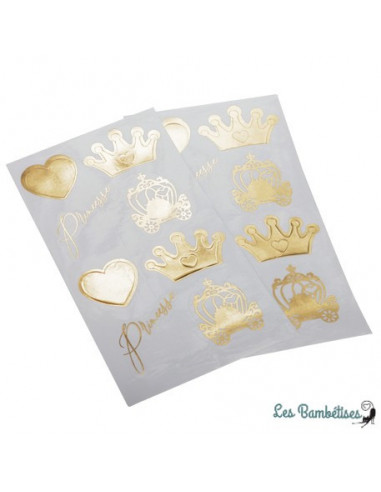 16 Stickers Dorés Princesse et Carrosse