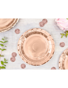 6 Petites Assiettes Dessert Rose Gold 18Cms