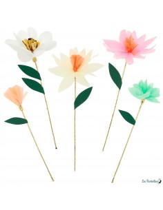 10 Tiges Fleurs en Papier Pastels Meri Meri
