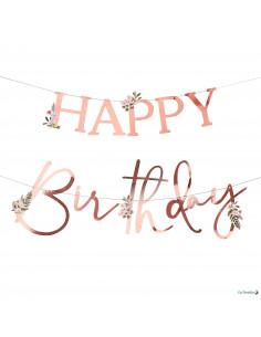 Guirlande Happy Birthday Rose Gold & Fleurs