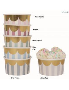 12 Pots en Carton Pastels Bordure Dorée