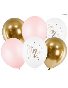 6 Ballons Roses et Or Anniversaire 1 An