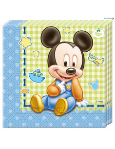 20 Serviettes en Papier Baby Mickey™ Bleu