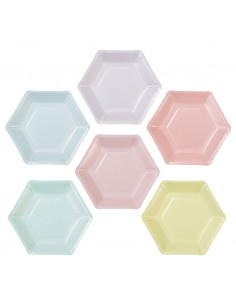 12 petites assiettes pastels assorties