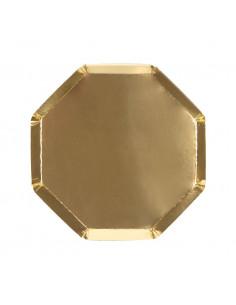 8 petites assiettes octogonales dorées 20 cms meri meri