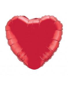Ballon métallique coeur rouge brillant
