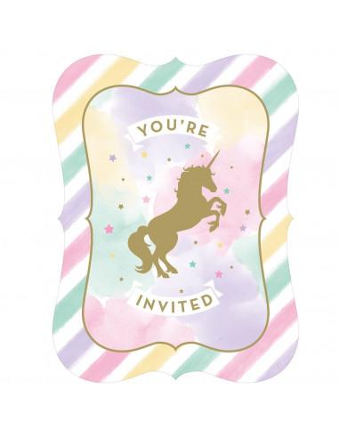 8 invitations pastels Licorne avec enveloppes