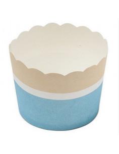 25 cupcakes bleu ciel blanc beige