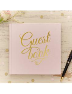 Livre d'or rose pastel écriture dorée