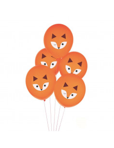 6 ballons oranges imprimés Renard My little day