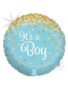 Ballon métallique rond bleu ciel écriture It's a boy 46 cms