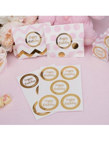 "25 stickers ronds ""Happy Birthday"" doré"